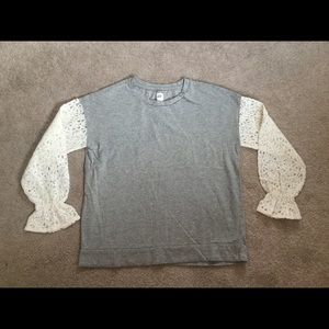 Gap Girl's XXL Cotton top with lace long sleeves